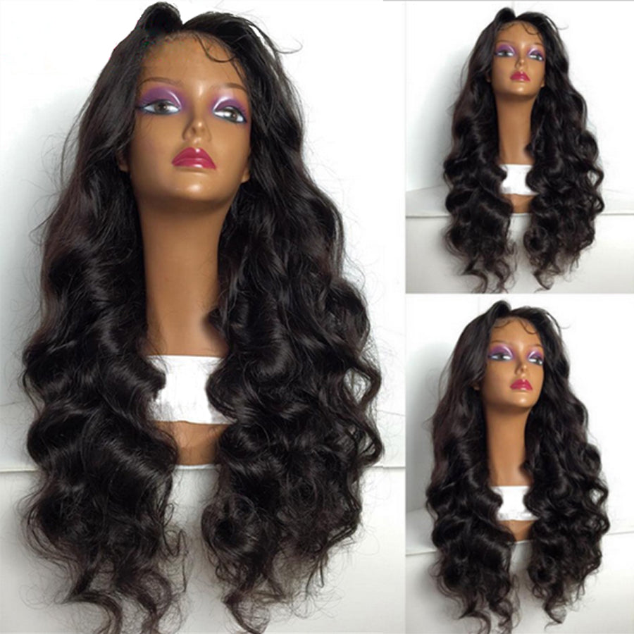 Perruque】Noir Naturel Full Lace Wig Ondulé
