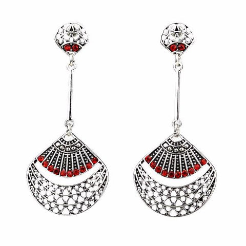 Antique Silver Red Stone Studded Bohemian Earrings