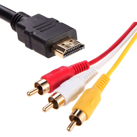 1.5M 1080P HDMI to 3 RCA Cable HDMI to AV Male Adapter Audio Video Cable for DVD HDTV