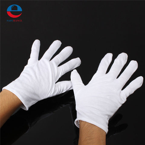 1 Pair New Arrival High Quality Useful White Cotton Gloves For Housework Workers With