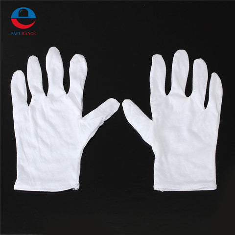 1 Pair Useful White Cotton Gloves For Housework Workers With Knits For Safely Security