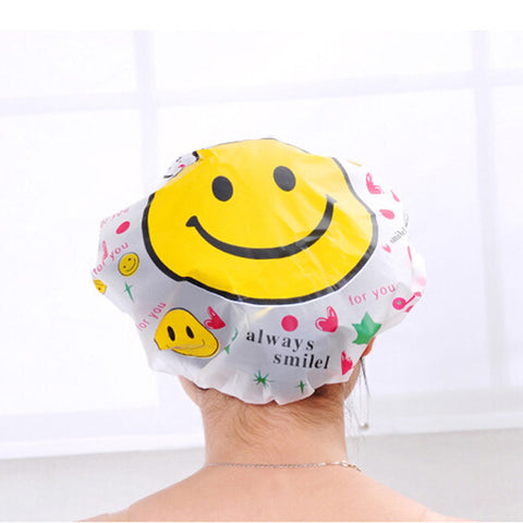 1 Pcs Cartoon Print Shower Caps Waterproof Cloth Household Women Bath Spa Caps Elastic