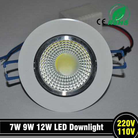 1 pc Newest 9 W LED chip COB LED recessed ceiling downlight Spot Lamp White Light White