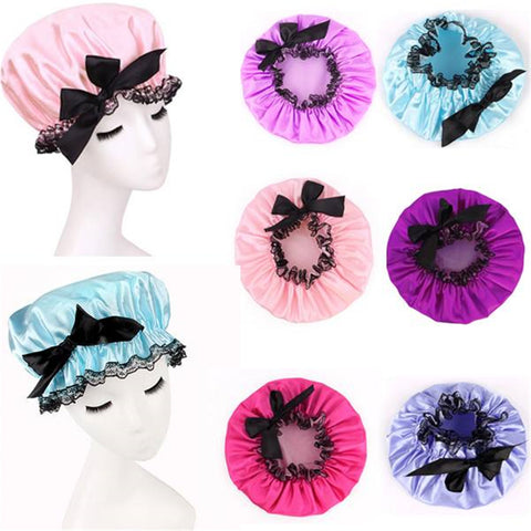 1 x Cute Waterproof Satin Hat Protect Lady Hair Bath Shower Care Salon Cap Women New .