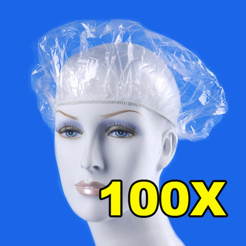 100pcs/pack Disposable Hat Hotel One-Off Elastic Shower Bathing Cap Clear Hair Salon