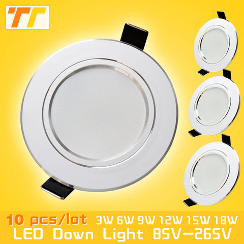 10pcs/lot led downlight lamp 3w 5w 7W 9w 12w 15w 18w 230V / 110V ceiling recessed