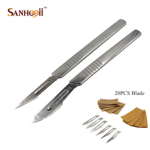 #11 # 23 Knife Handle & 20PCS Blade Carbon Steel Surgical Scalpel Blades Live Tissue PCB
