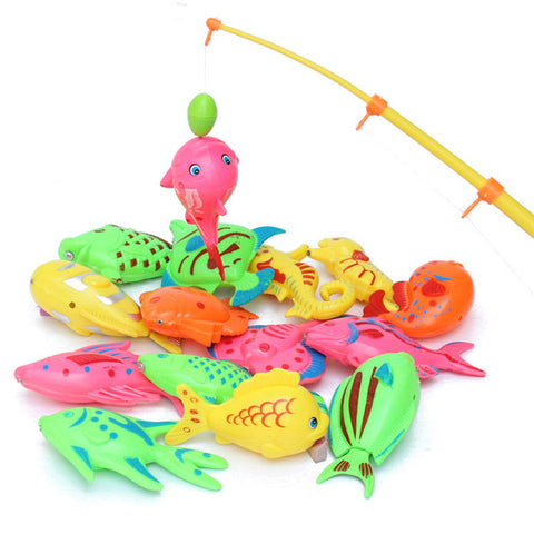 11 pieces per Set Magnetic Fishing Toy Game for Kids 1 piece Rod + 10 pieces 3D Fish