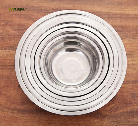 1PC New 6 Size Stainless Steel Soup Bowls Multi-function Round Soup Pot Soup Palte