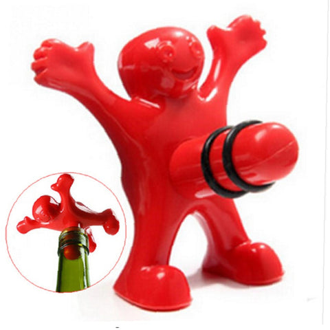 1Pc Unique Funny Happy Red Man Guy Wine Stopper Bottle Plastic Novelty Bar/home Tools Plug