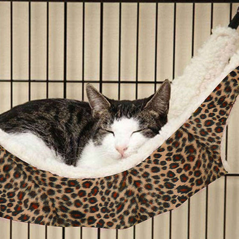 1Pcs Cat Dog Hammock Hanging Bed Funny Polka Dot Leopard Print Small Cats Animal Mats Cage