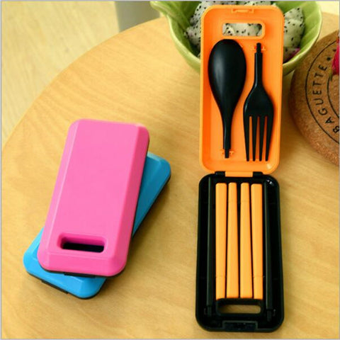 1Set Portable Travel Kids Adult Cutlery Travel Fork Tableware Dinnerware Sets Camping