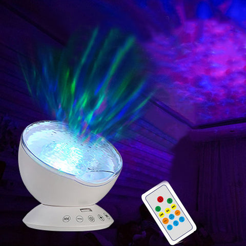 1X Newest Remote Control Ocean Wave Projector Rotating Night light Music Player TF Card