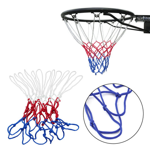 1pc thick 5mm Red White Blue Basketball Net Nylon Hoop Goal Rim Mesh Net Hot Sale .