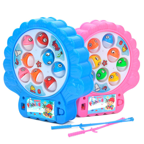1pcs Kawaii Electric Cartoon Magnetic Musical Fishing Toy with 8 Fish and 2 Fishing Rod