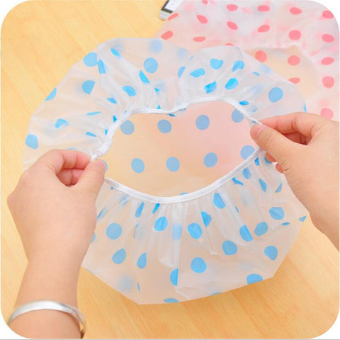2 Pieces Hot Sale New fashion dot waterproof shower cap thickening dry hair hat bath women