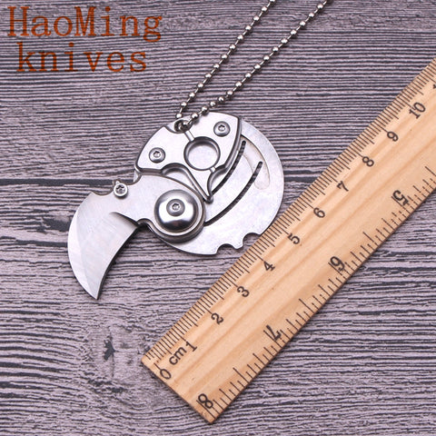 2 pcs Coins folding knife fixed blade Key Chain Letter Opener outdoor Survival camp