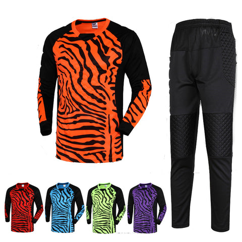 /16 New Men Football Goalkeeper Kits Sponge Protector Suit Men Soccer Goal Keeper Jersey
