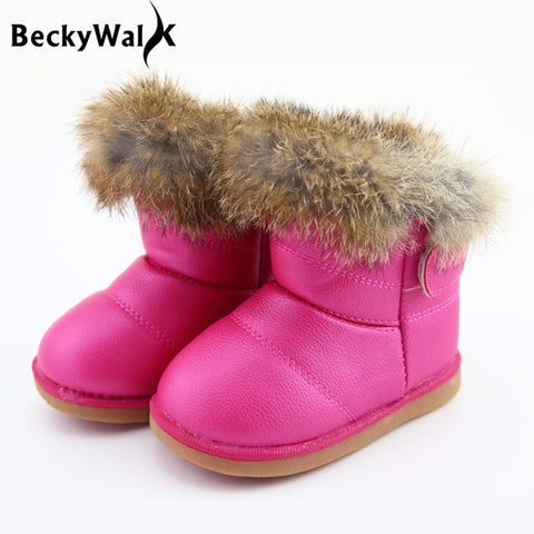 Boots for Girls Children's Real Rabbit Fur Ankle Snow Boots EU21-30 Kids Shoes Girls Boots Warm Plush