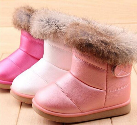 Boots for Girls EU21-30 Winter Warm Wool Cloth With Soft Nap Of Rabbit Hair Fur Rubber Soles Children Snow
