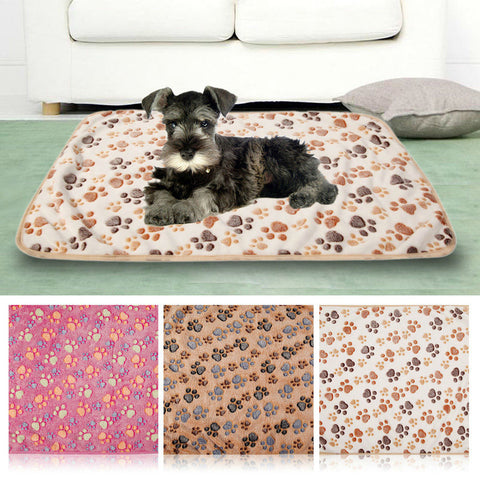 High Quality Pet Dog Cat Soft Fleece Blanket Warm Paw Print Bed Small/Large Multi
