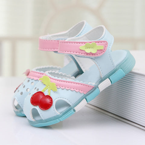 New Lovely Cherry Baby Girls Sandals Summer Walker Shoes Soft Antislip Sole Kids Toddler