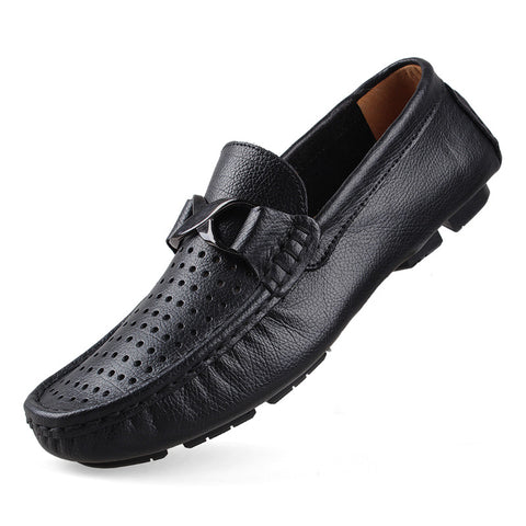 New Men Casual Shoes Summer Leather Flat Shoes Soft Male Loafers Footwear Plus Size