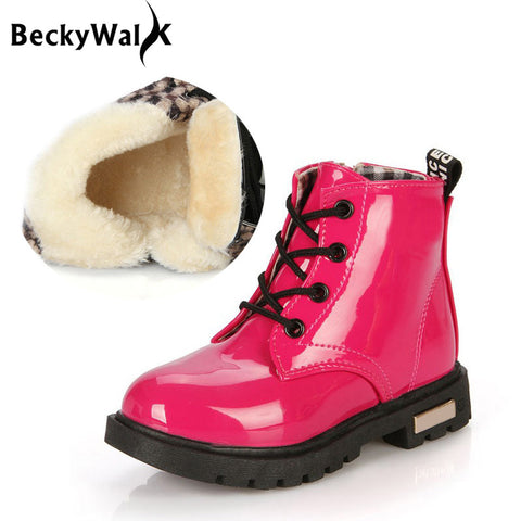 Boots for Boys New Winter Children Shoes PU Leather Waterproof Martin Boots Kids Snow Boots Girls Boys