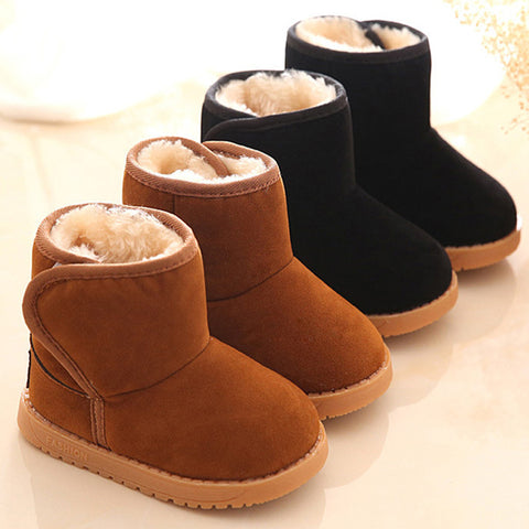 Boots for Boys Winter Children Boots Thick Warm Shoes Cotton-Padded Suede Magic Hook Boys Girls Boots