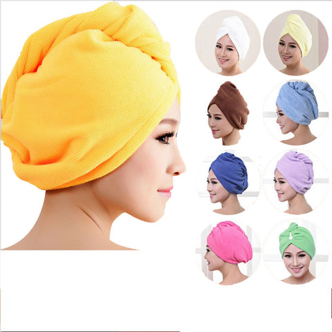 8 Colors Microfiber Solid Hair Turban Quickly Dry Hair Hat Womens Girls Lady's Cap