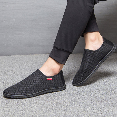 Autumn Casual Shoes Men Loafers Lazy Network Shoes Male Foot Wrapping Breathable