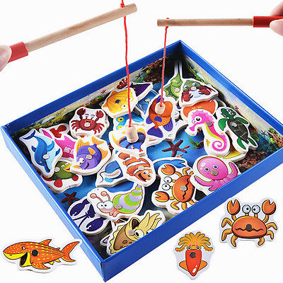 Fashion Baby Educational Toy Fish Wooden Magnetic Fishing Toys Set Game Kids Gifts