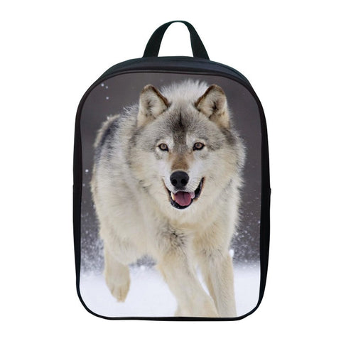 Fashion Oxford 12 Inches Printing Animal Gray Wolf Children School Bags for Baby Boys