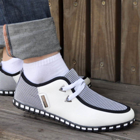 Man Shoes Walking Trainers Casual Male Men Sapato Masculino White Black Canvas Slip