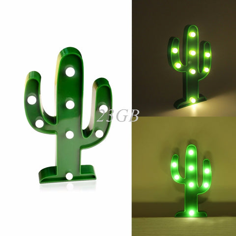 NEW 3D Marquee Lamp With 8LED Battery Operated Night Light Warm-White Cactus APR28_20