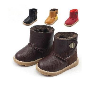 Boots for Boys New ComingWarm PU Leather Kids Boys and Girls Cotton Padded Shoes Baby Shoes Children