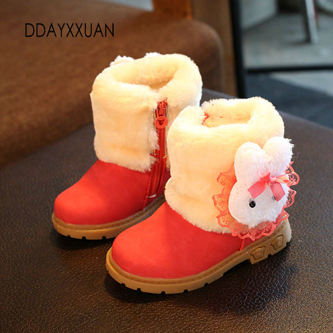 Boots for Boys New Girls Boots Princess Brand Winter Children Shoes Plush Warm Bow Fashion Girl Snow