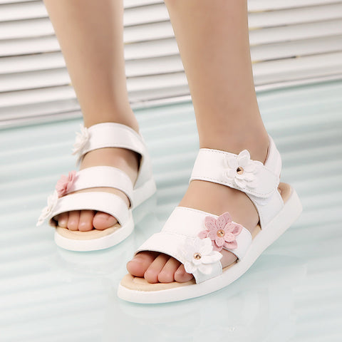 New Summer Style Children Sandals Girls Princess Beautiful Flower Shoes Kids Flat