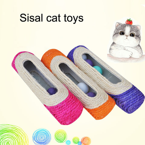 Pet Cat Kitten Kitty Toy Long Rolling Scratching Toys Ball Sisal Scratch Post Trapped
