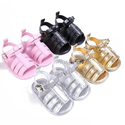 Plain PU Leather Baby Moccasins Child Summer Girl Boy Sandals Crib Shoes Anti Slip