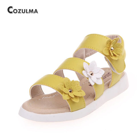 Summer Girls Sandals Children Shoes Flowers Roman Style Gladiator Tassel Decor Flat