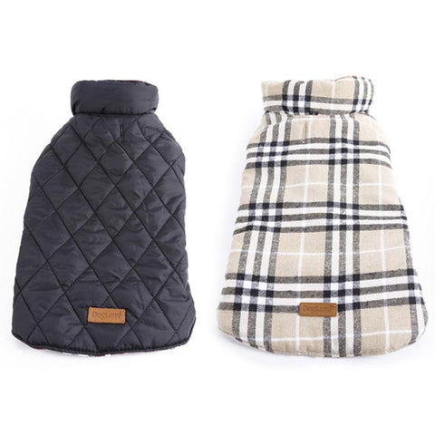 Windproof Reversible Dog Jacket Designer Warm Plaid Winter Dog Coats Pet Clothes