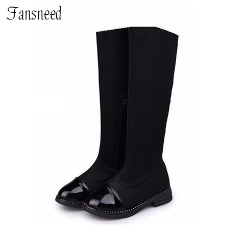 Boots for Girls girls children's boots stretch fabric knee boots single child girls casual shoes high