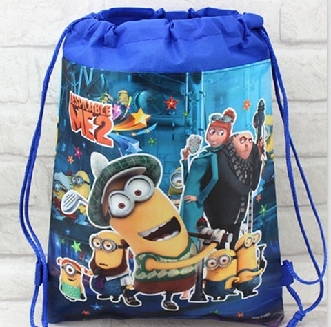 minion and Gru printed backpack gmy shoulder bag non-woven string shoe bag for