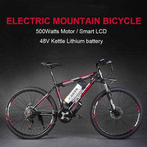 26inch electric mountain bicylce 48Vlithium battery 500w motor smart lcd assist bike pas