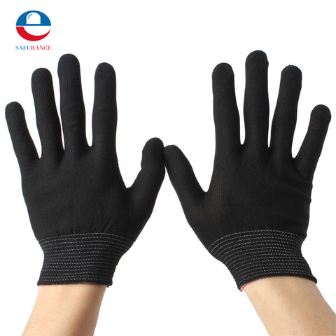 2Pairs Nylon Black Antistatic Work Gloves Knit Working Gardening Lumbering Hand Safety