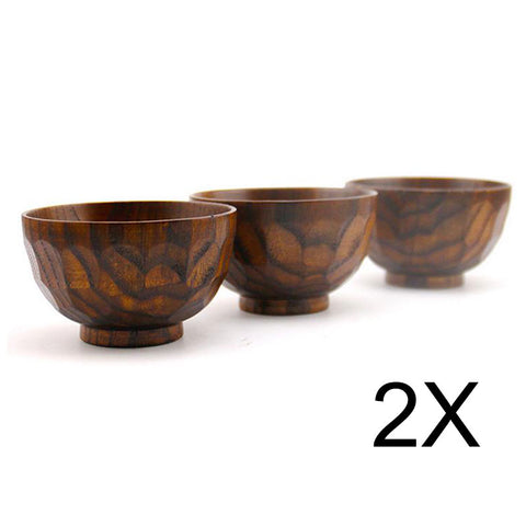 2pcs Natural Jujube Wooden bowl chinese soup rice Noodles bowls Kids lunch box kitchen