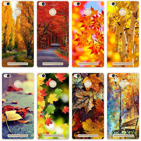 34GH Beautiful Autumn Hard Transparent Cover Case for Xiaomi Redmi 3 3S 3Pro 4 4pro Note 3