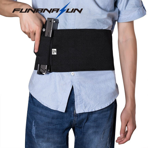 "37"" Adjustable Tactical Elastic Belly Band Waist Gun Holster 2 Magazine Pouches"