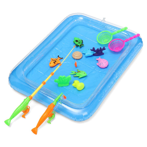 39pcs/Set New Fish Inflated Pond Game Magnetic Fishing Pole Rod 3D Fish Model Baby Bath